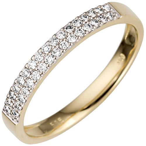 JOBO Damen-Ring aus 585 Gold mit 33 Diamanten Größe 54