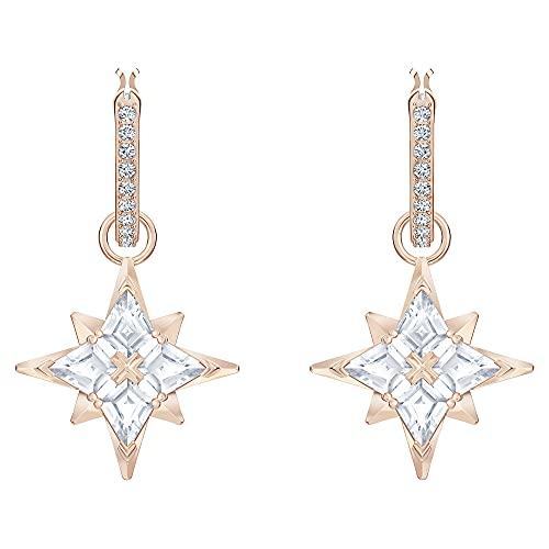 Swarovski Symbolic Star Ohrringe, Rosé Vergoldete Kreolen mit Funkelndem Sternanhänger